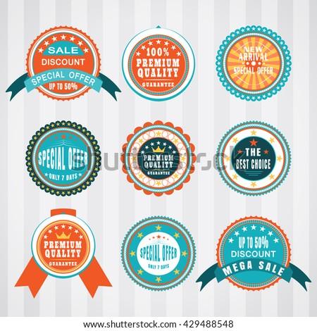 Vintage labels vector set. Retro badges vector set. - stock vector