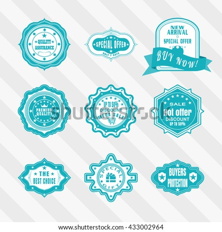 Vintage labels vector set. Retro blue and white badges vector set. Vector set of blue and white labels for advertisement.