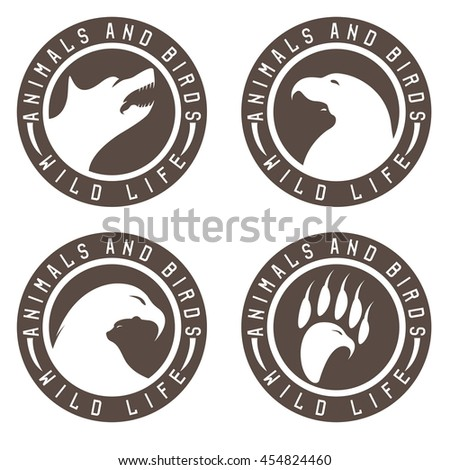vintage labels with animals and birds negative space concept - stock vector