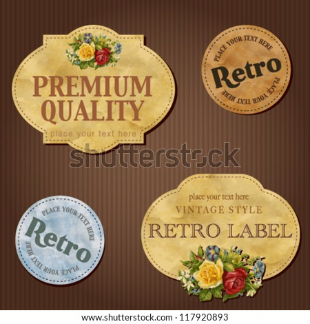 Vintage labels with flowers