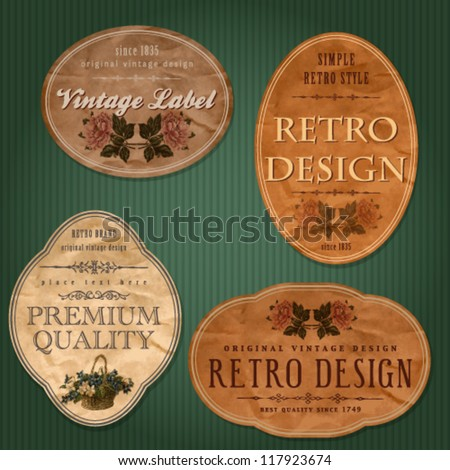 Vintage labels with flowers - stock vector