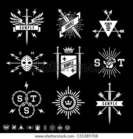 vintage labels with shield, sword, arrow, crown - stock vector