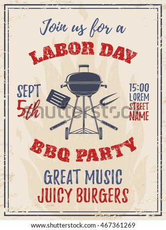 Vintage Labor Day Bbq Party Background Stock Vector