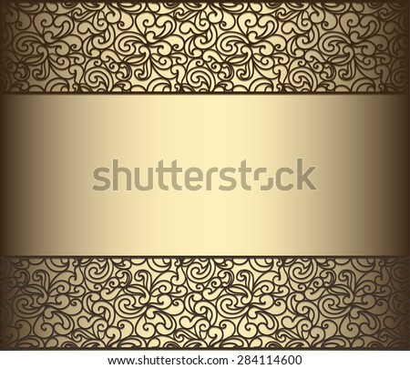 Vintage lace background for envelope, card or invitation in golden color. Vector - stock vector