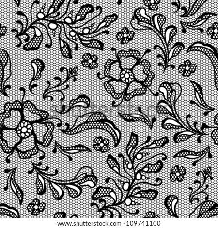 Vintage lace background, ornamental flowers. Vector texture. - stock vector