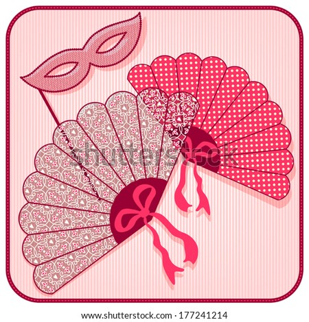 Vintage lace fans and mask. - stock vector