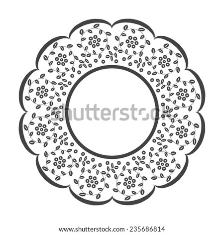 Vintage lace frame. Rishelie embroidery. Black and white graphics. - stock vector