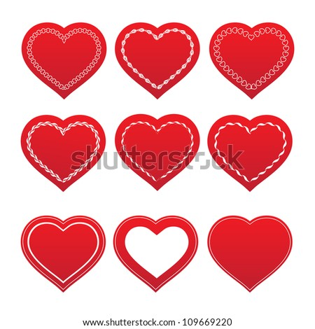 Vintage lace hearts with ornaments on background. Vector illustration. - stock vector