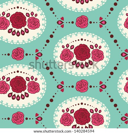 Vintage Lace Red Roses Seamless Pattern. Copy that square to the side and you'll get seamlessly tiling pattern which gives the resulting image ability to be repeated or tiled without visible seams. - stock vector