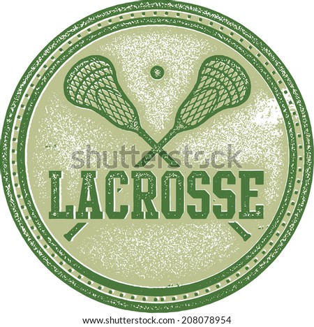 Vintage Lacrosse Sport Stamp Sign - stock vector