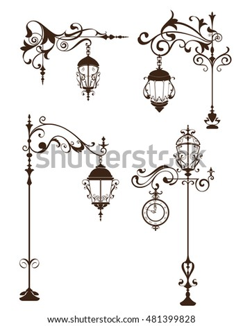 Vintage lamps with design elements and ornaments flourishes Outdoor street lamppost with clock isolated objects on a white background