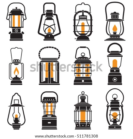 Vintage Lantern Set Isolated On White Background Different Oil Lamp Collection Modern And Retro