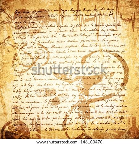 Vintage Letter (18 Century) Grunge Medicine Background  - stock vector