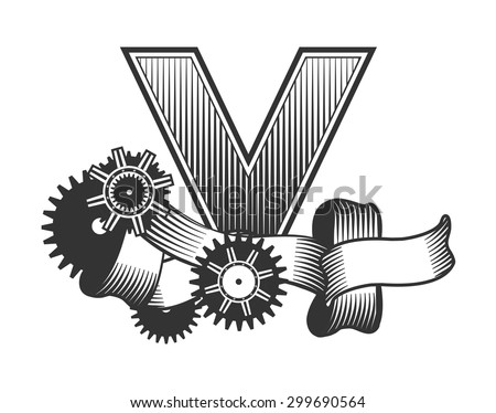 Vintage letter randomly drawn bars decorated with ribbons metal parts gears steam punk style, on a white background, letter V - stock vector