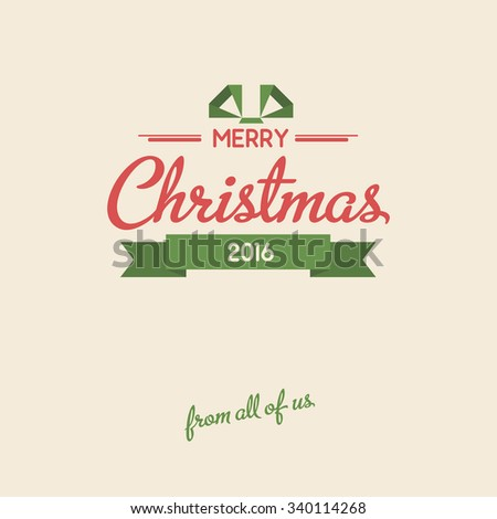 Vintage lettering christmas card. Vector flat background.  - stock vector