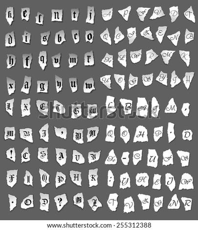 Vintage letters set on turned paper for medieval lettering design - stock vector