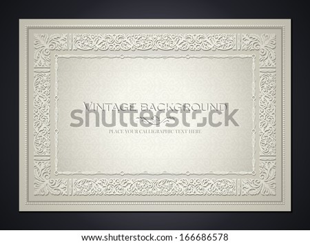 Vintage light background, antique style frame, Victorian ornament, beautiful brochure, certificate, award's and diploma's layout, book cover, floral luxury ornamental pattern, achievement template - stock vector