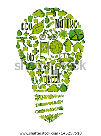 Vintage light bulb with environmental hand drawn icons in green. This illustration is layered for easy manipulation and custom coloring - stock vector