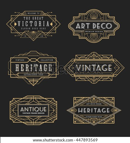 Vintage line frame design for labels banner logo emblem apparel t
