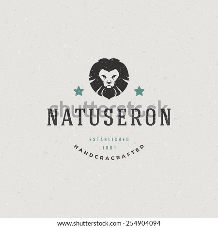 Vintage Lion face mascot emblem symbol. Can be used for T-shirts print, labels, badges, stickers, logotypes vector illustration. - stock vector