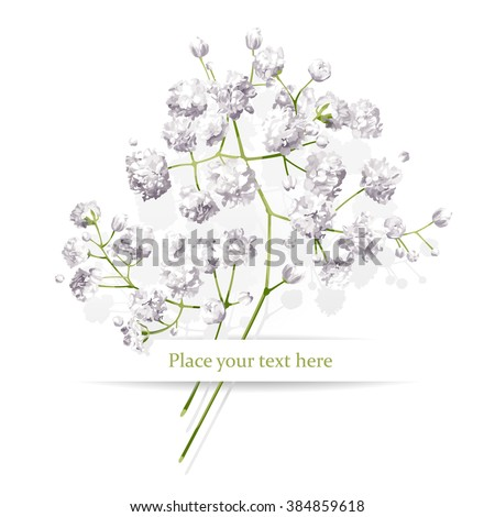 Vintage little white flowers bouquet for Valentine's Day, wedding, sales and other events painted in watercolor style - stock vector