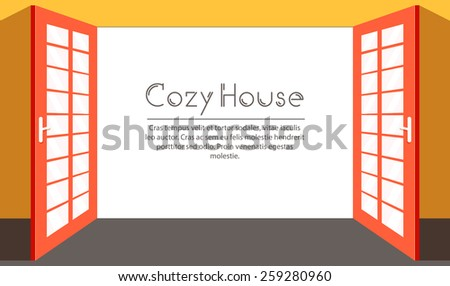 Vintage living colorful open door on house background illustration concept. Vector illustration for colorful template for you design, web and mobile applications. - stock vector