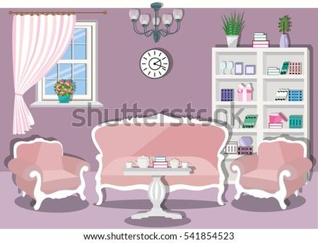 Vintage Living Room Interior Design Furniture Stock Vector 541854523 ...