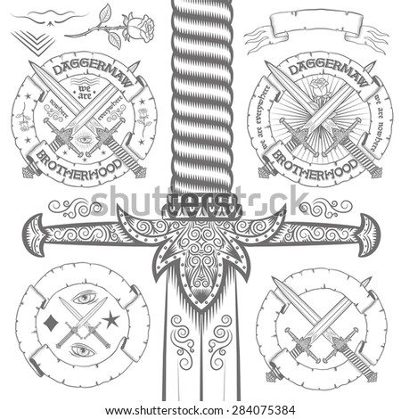Vintage logo design with ornate daggers, roses, ribbons. Set of elements for retro emblem. Big dagger possible to pull out entirely from the clipping mask. - stock vector