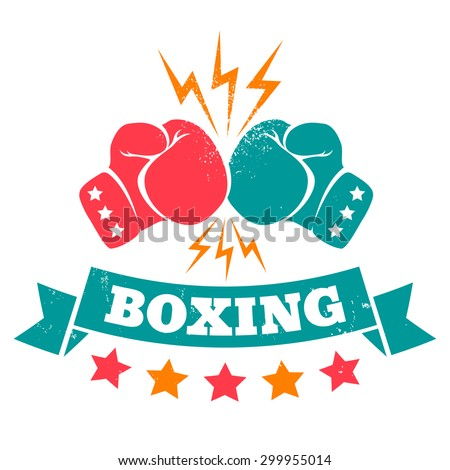 Vintage logo for a boxing on grunge background - stock vector