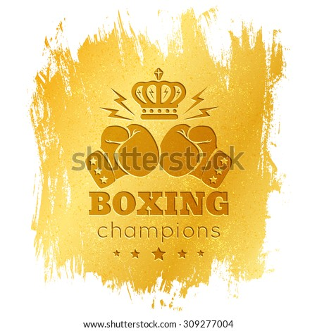 Vintage logo for boxing with gloves on gold background - stock vector
