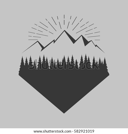 vintage logo forest mountain stock vector royalty free 582921019