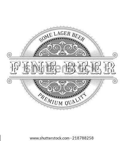Vintage Logo. Ornate Beer Label - stock vector