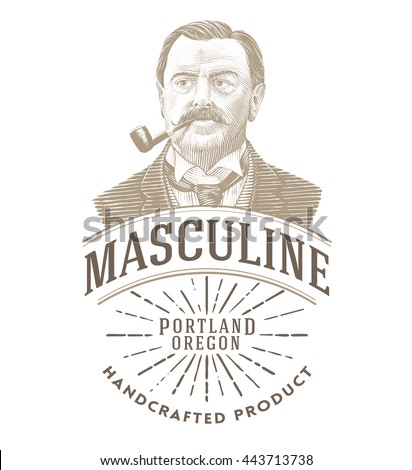 Vintage logo with bold man smoking a pipe.  - stock vector