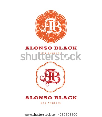 Vintage Logos based on AB Monogram - stock vector