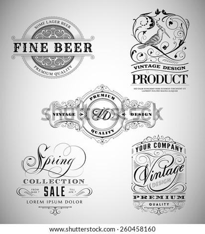 Vintage Logos Collection - stock vector