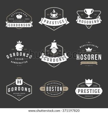 Vintage Logos Design Templates Set Vector Stock Vector HD (Royalty ...
