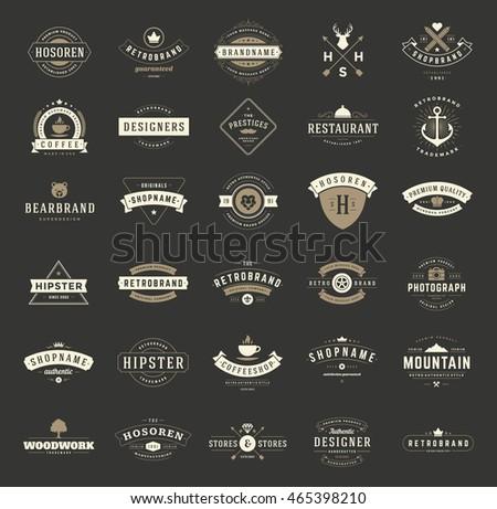 Vintage Logos Design Templates Set Vector Stock Vector 465398210 ...