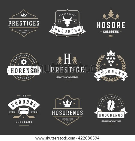 Vintage Logos Design Templates Set. Vector logotypes elements collection, Icons Symbols, Retro Labels, Badges, Silhouettes, Ribbons and Frames. - stock vector