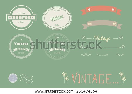 Vintage logos, doodles and banners. - stock vector