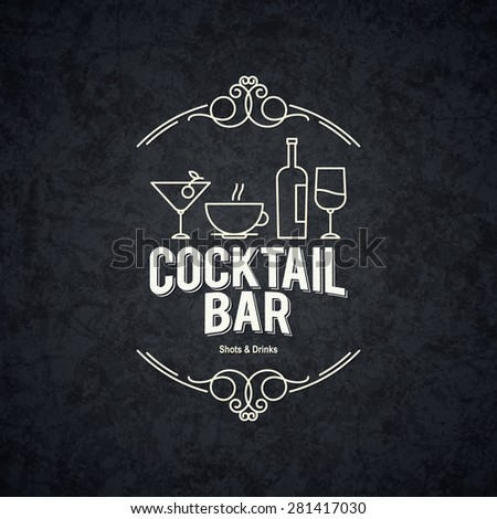 Vintage logotype for bars, restaurant, coffee house, cafeteria - stock vector