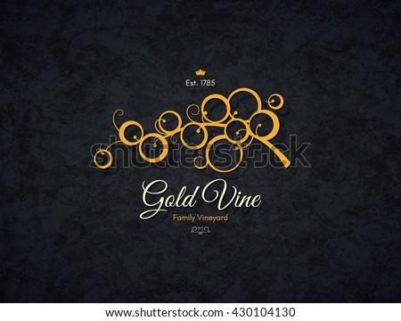 Vintage logotype for winery, vineyard, wine shop, wine list. Food and drinks logotype symbol design. Crumpled vintage paper background - stock vector