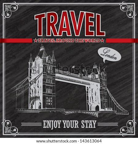 Vintage London Travel vacation poster - stock vector