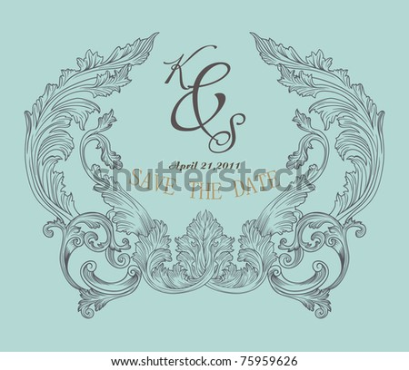 vintage look save the date for a wedding card invitation card. - stock vector