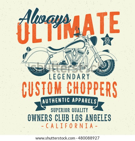vintage, Los Angeles motorcycle typography, t-shirt graphic, vectors.