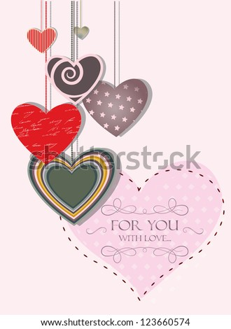 Vintage love card with hanging hearts - stock vector