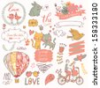 Vintage love collection: flowers, labels, laurel, hearts, birds, cats, rabbit, air-balloon, bicycle. Graphic set in retro style - stock vector
