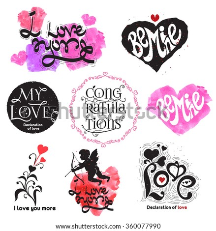 Vintage love logo. Love the calligraphy sign. Romance logo. The symbols of Valentine's day. Heart icon logo. Love logo. Togetherness concept. Relations symbol. Set lovers logo. Unity feeling logotype - stock vector