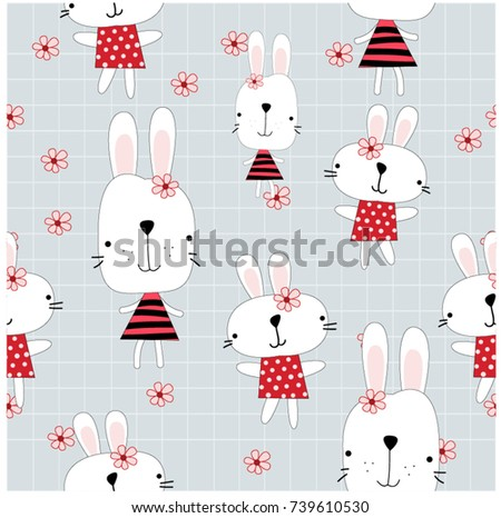 Vintage Lovely Cute Animal Puppy Rabbit And Flower Sweet Pink Blue Pastel Character Seamless Pattern