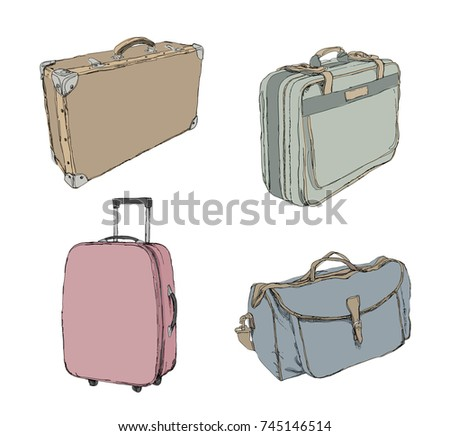 Vintage luggage - set of travel suitcases in different color and style