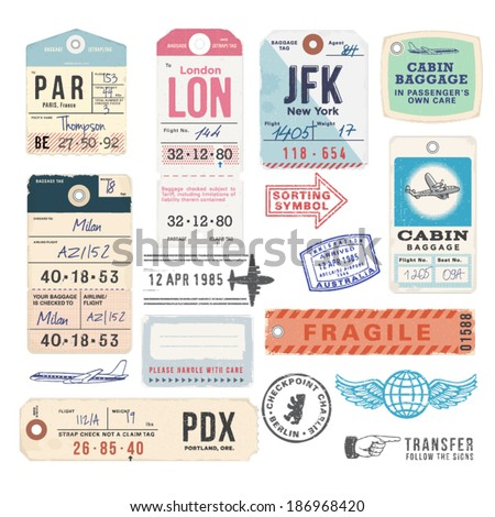 Vintage Luggage Tags Stock Vector 186968420 - Shutterstock